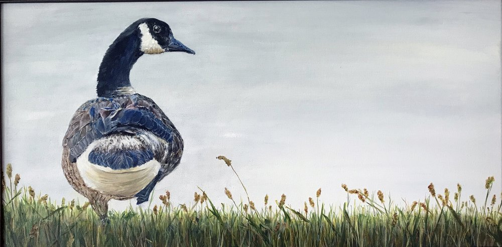 "Donna Gustina, Fowl Attitude, Acrylic on Canvas, 12""x24"" $375"