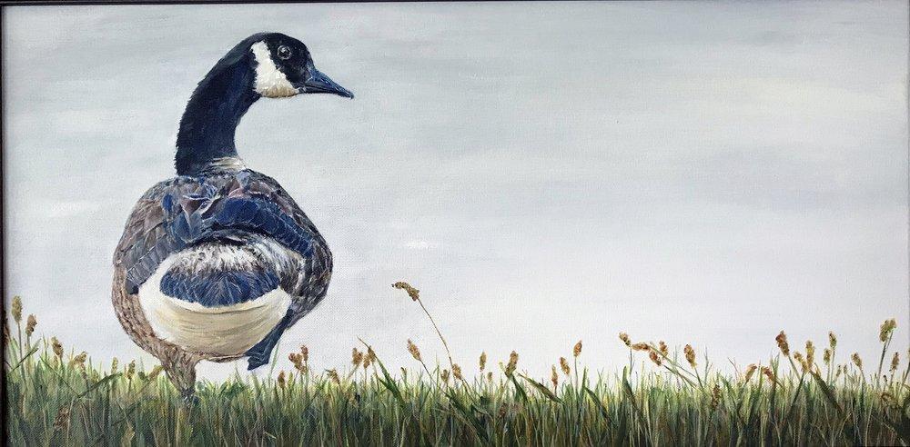 "Donna Gustina, Fowl Attitude, Acrylic on Canvas, 12""x24"" $375"
