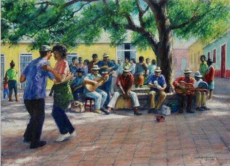 Robert Heischman,  Street Band in Cuba,  Mixed media, $1200