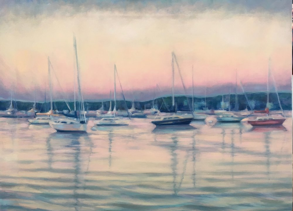 Paula Crawford,  Sag Harbor at Dusk II,  Oil on Canvas, $1500