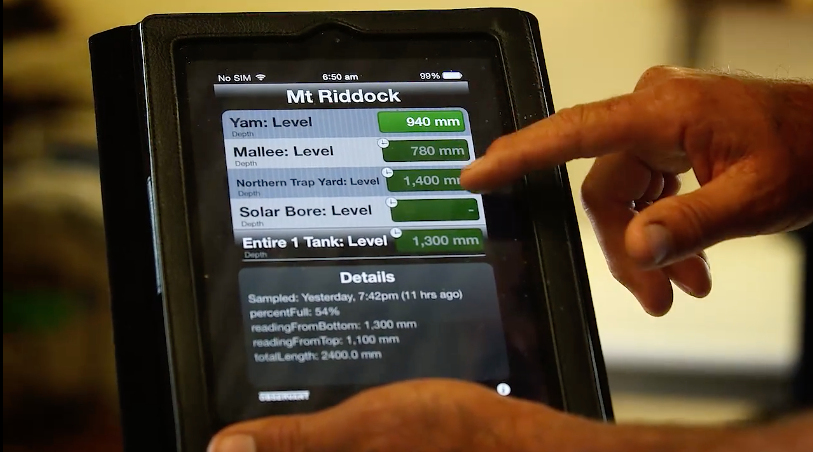 Water level readings displayed on a tablet.