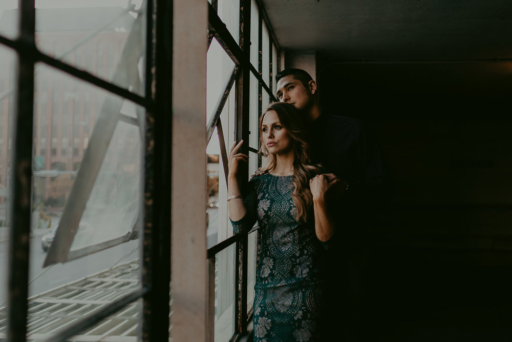 Couple photographed in Lincoln, Nebraska. Upcoming wedding