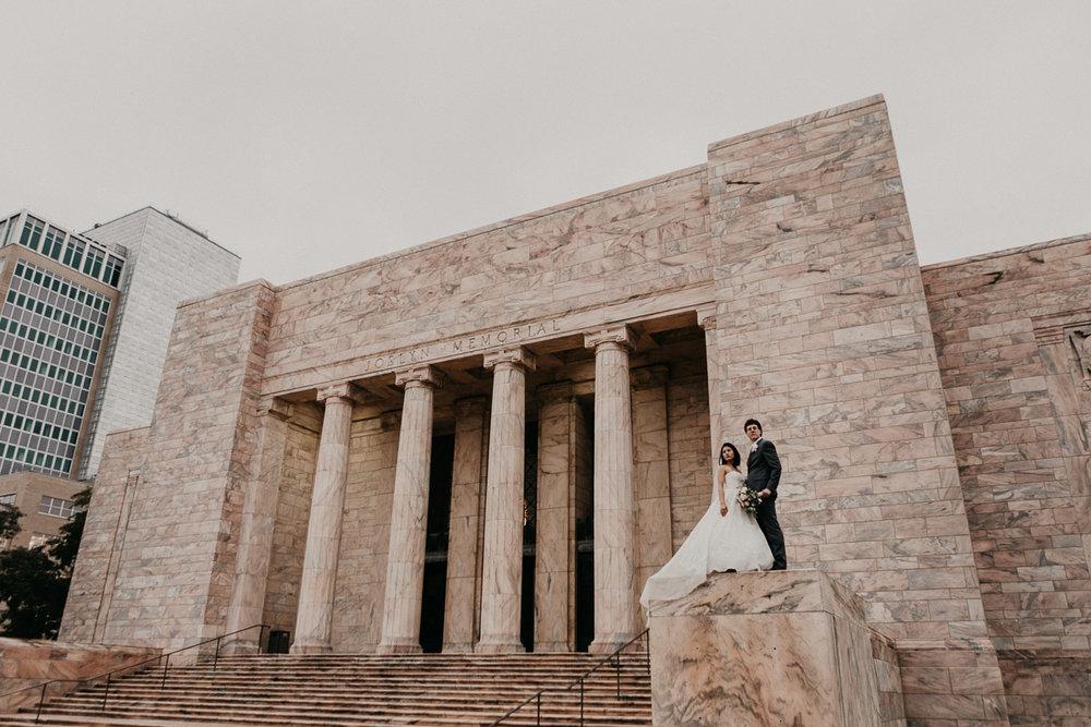 Photographers in Omaha shooting Joslyn Museum wedding.