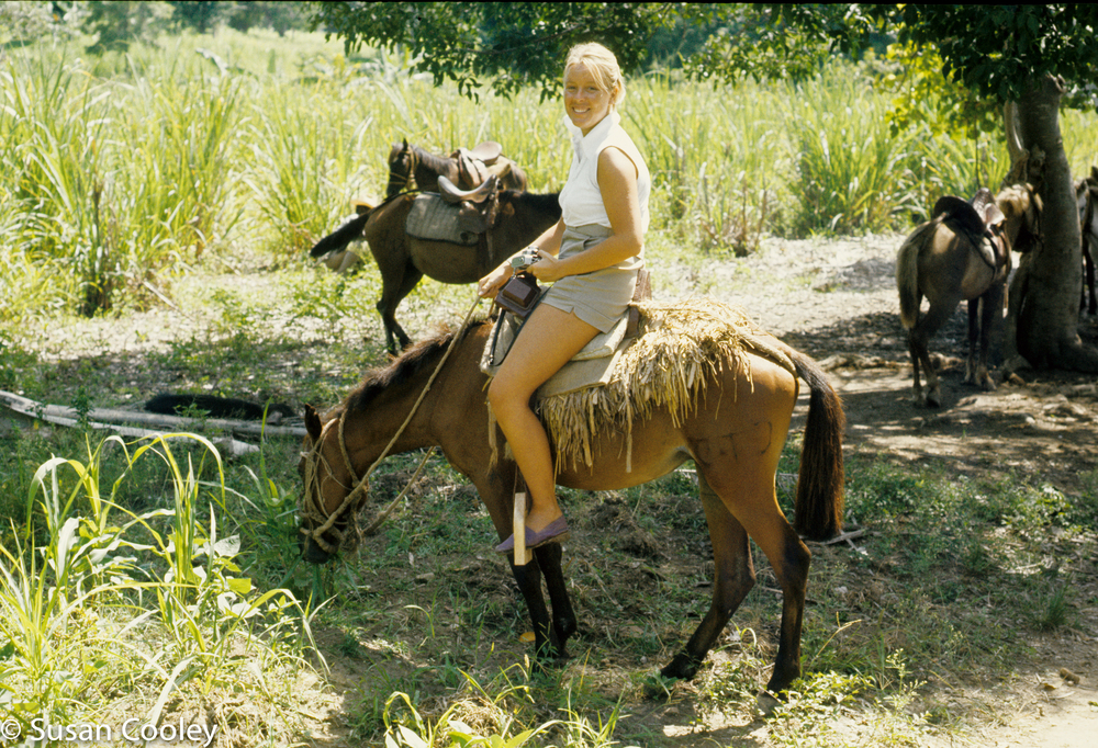 Susan en route to feeding station, Haiti, 1974.
