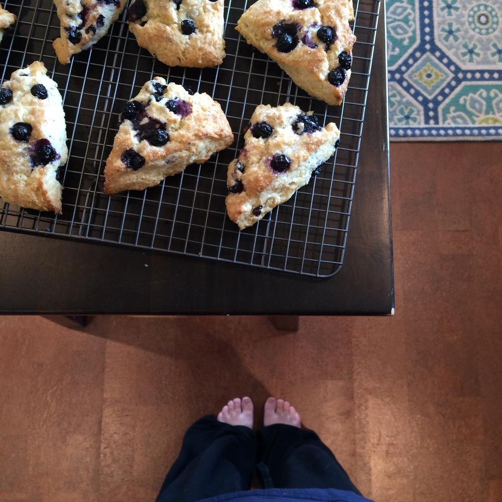 Sunday necessities: pajamas, warm blueberry scones, and football.