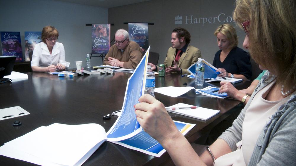 A marketing meeting at HarperCollins