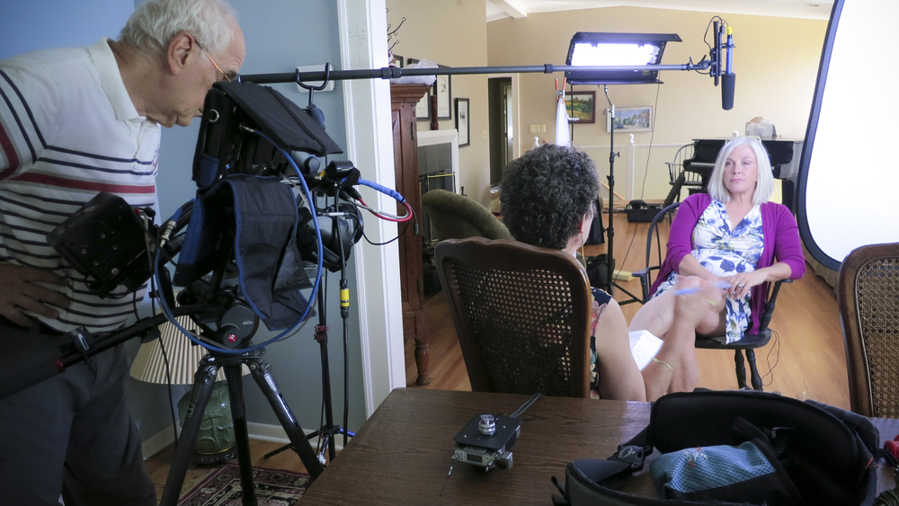 At Connie Brockway's home in Minnesota, shooting an interview