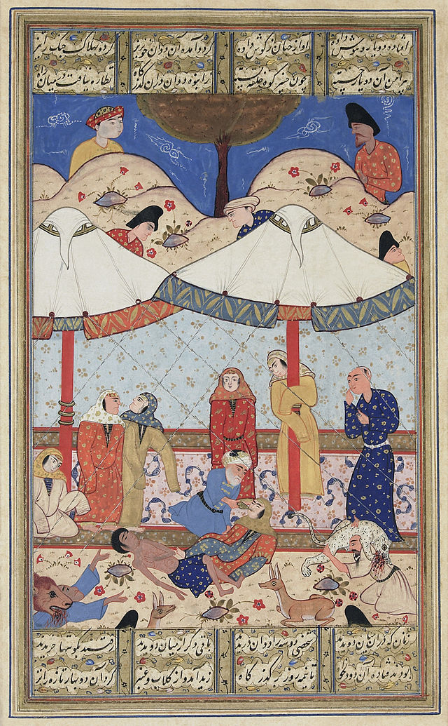 A depiction of the tragic ending of the story of Layla and Majnun, a 5th century Arabian tragic love story