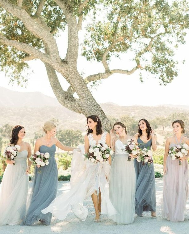 Do you love elegant ranch weddings? A smokey blue, mauve, and blush color palette? Click the link in my bio for more of this goodness 👆 . . . Photography: @kelseaholderphoto Venue: @oysterridge Florist: @adornments_flowers Hair & Makeup: @thequeensbees Paper & Calligraphy: @bow.and.arrow.design Ceremony Music: Candlelight Strings Rentals: @centralcoasttentandparty Dessert: Christina Bonnett @cbbakeshop Bartending: @copperandcrystal DJ: Joe LaBarbera @joeslodj Catering: @misturacatering Video: @romanhowellfilms Lounge: @scout_rental_co Transportation: @slosaferide Photo Booth: @the_photobooth_experience . . .   #bride #wedding #weddingday #weddingdress #weddingphotography #weddinginspiration #weddingplanning #weddingideas #bridalparty #weddinggown #weddingparty #weddingplanner #weddingflowers #bridesmaid #flowers