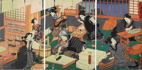 A mid-19th-century print by Kunisada depicting the woodblock printing process. An actual print shop would not have been staffed by such beauties.