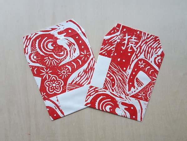 Linocut 'ang pow' or 'hong bao' packets - money in anyone's dialect!