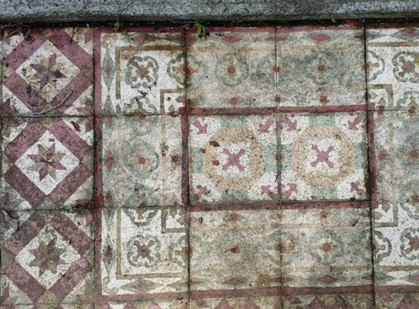 Encaustic tiles produced around 1910's in the area now known as Tampines, Singapore.