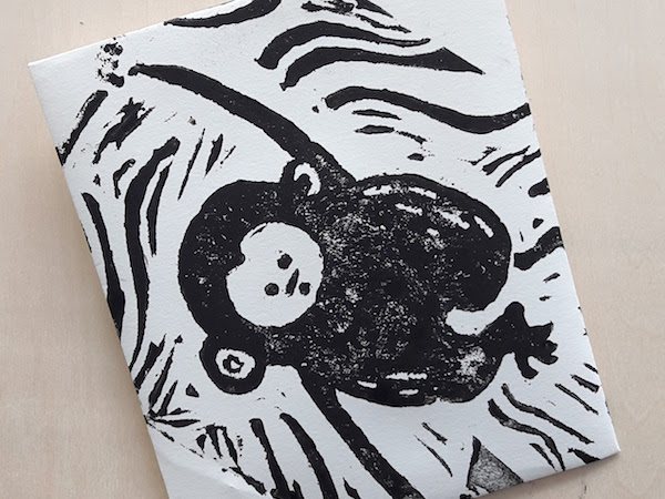 A Chinese New Year linocut by one of my expecting students - all the best with her little 'monkey' this year!