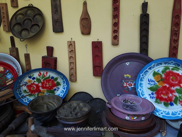 These colourful enamel plates and kueh sweet molds are very practical and collectable!