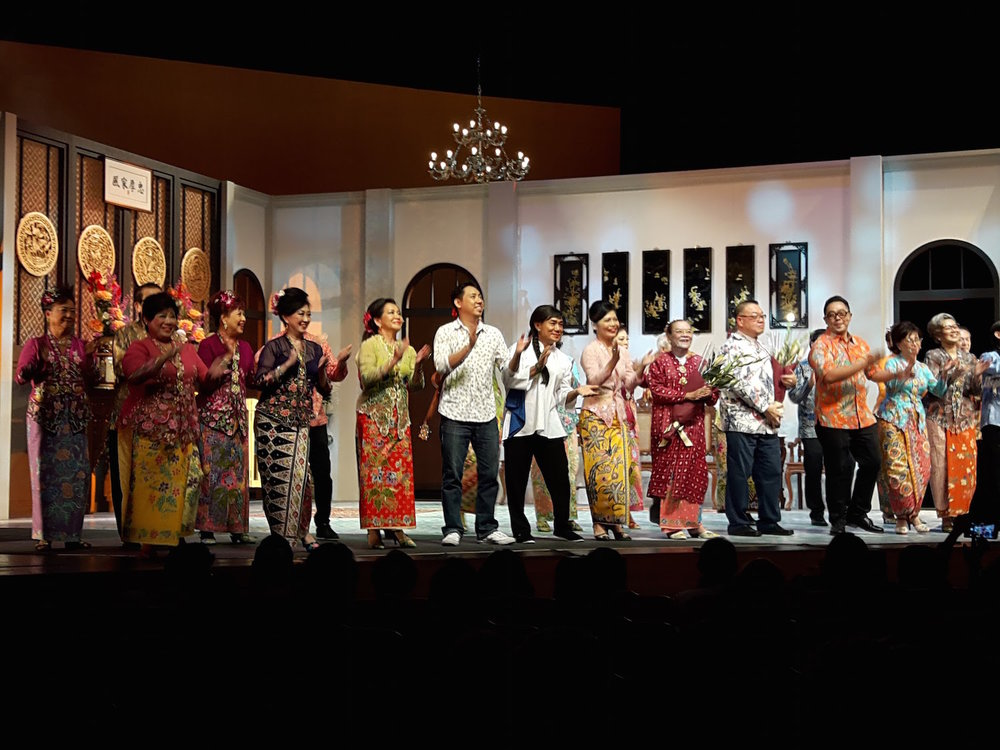 The colourfully dressed cast of Peranakan Wayang Kain Chik Dua Mungka.