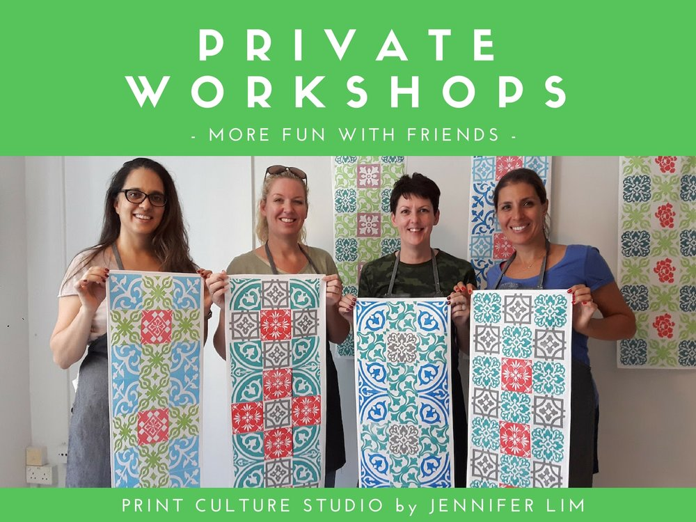 Private art workshops specialising in Peranakan culture and printmaking are offered by Jennifer Lim