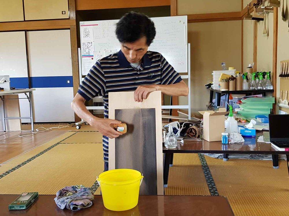 Master Printer Tetsuo Soyama softening printing brushes