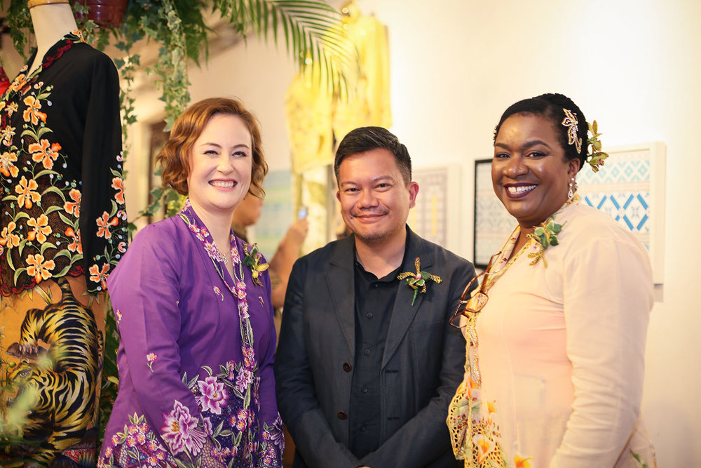 At the opening of my recent show Crossing Cultures in a custom-made Kebya by Benjamin Seck of    True Blue Cuisine   .
