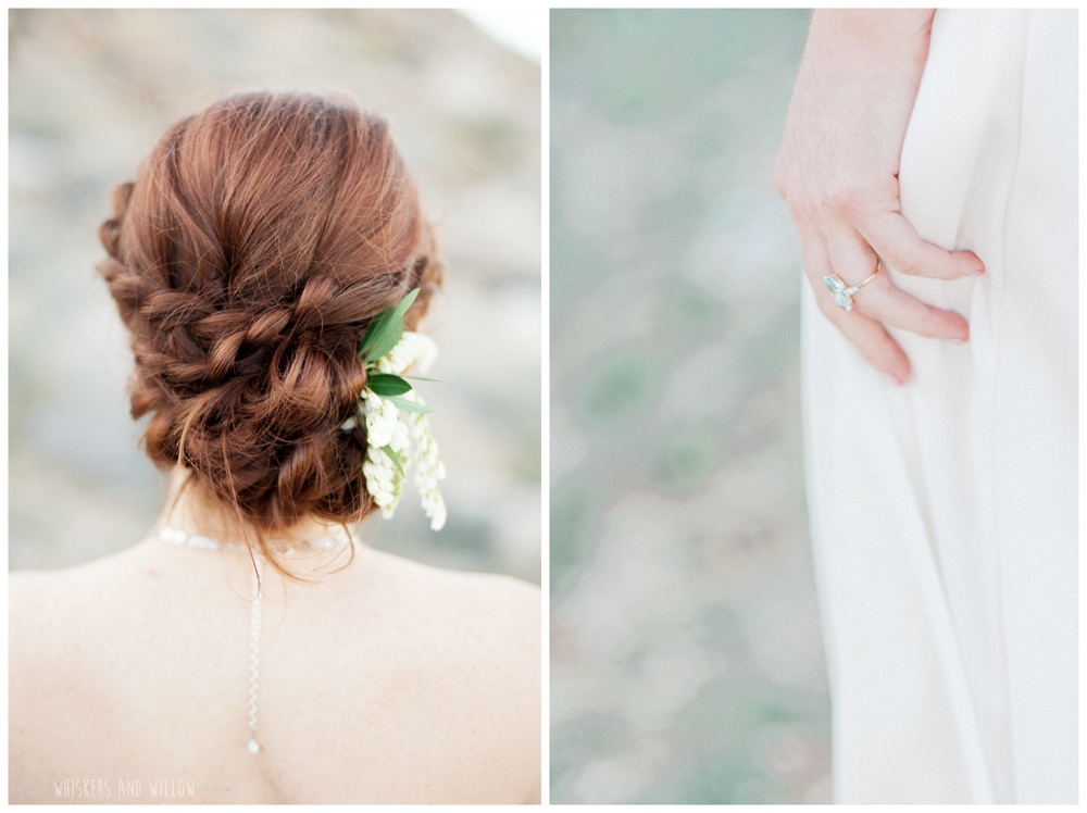 Pastel desert wedding | Vintage engagement ring by Trumpet and Horn | Braided updo bridal hair | Bohemian updo | Whiskers and Willow Photography