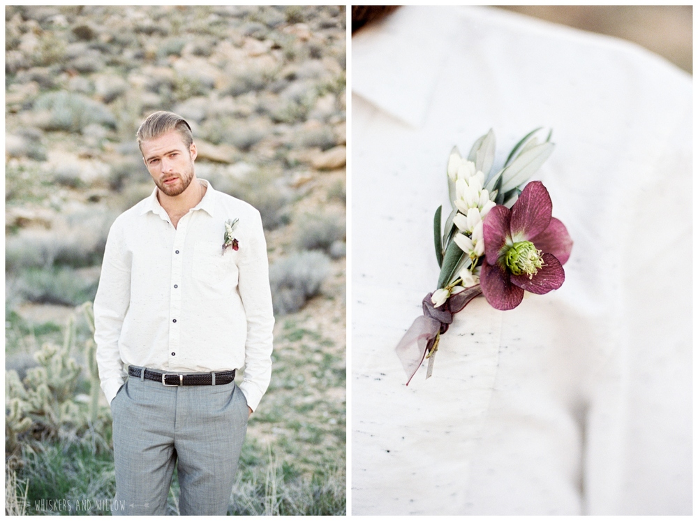 Pastel desert wedding | Groom outfit inspiration | Bohemian boutonniere | Whiskers and Willow Photography