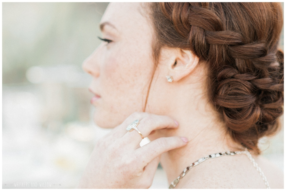 Vintage engagement ring by Trumpet and Horn | Bohemian braided bridal updo | Whiskers and Willow Photography