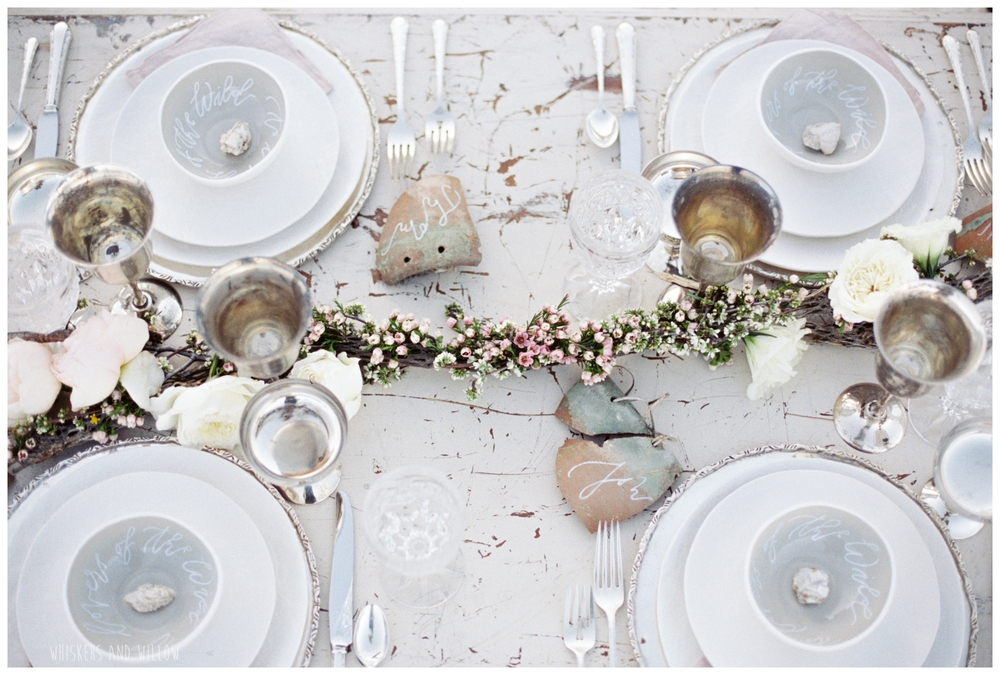 Pastel desert wedding | Neutral tablescape | Whiskers and Willow Photography