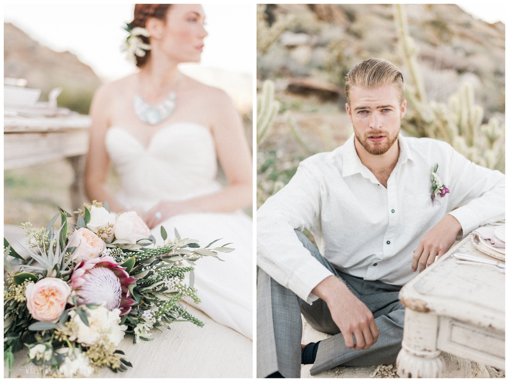 Pastel desert wedding | Groom inspiration | Protea blush bouquet by Bloom Babes | Pastel desert wedding | Neutral tablescape | Whiskers and Willow Photography