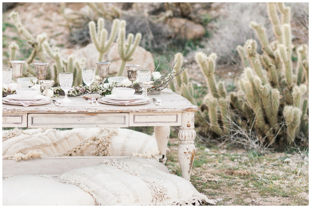 Pastel desert wedding inspiration | Neutral tabletop | Pastel desert wedding | Neutral tablescape | Whiskers and Willow Photography