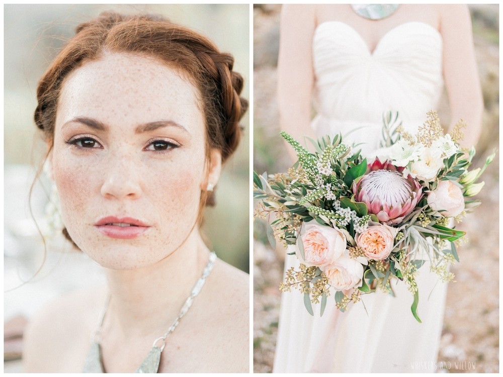 Pastel desert wedding | San Diego | Soft and fresh bridal makeup by Lacey Haegen | Protea blush bouquet by Bloom Babes | Whiskers and Willow Photography
