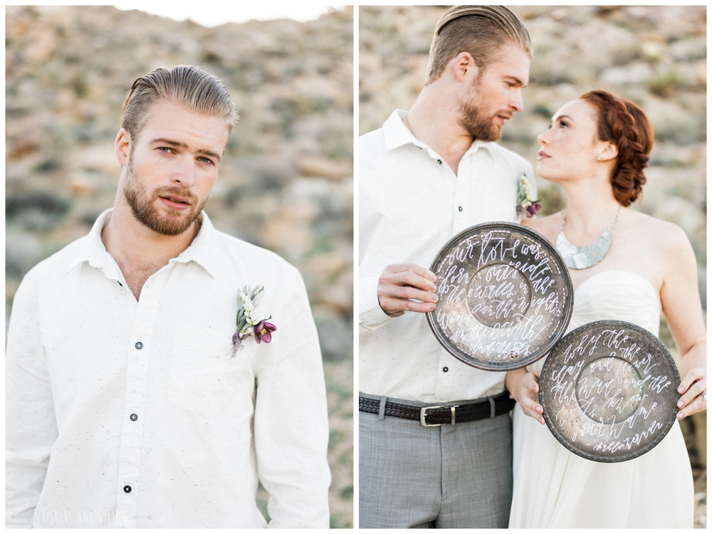 Pastel desert wedding | Groom inspiration | Calligraphy by Type and Title |  Whiskers and Willow Photography