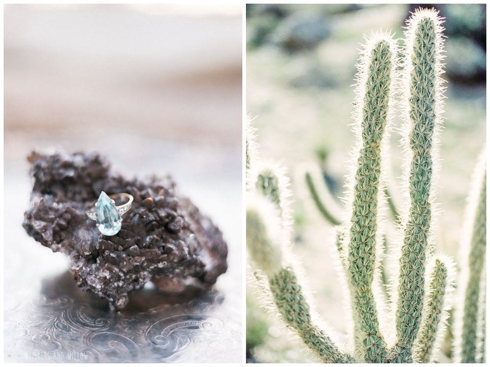 Pastel desert wedding | Vintage engagement ring by Trumpet and Horn | Whiskers and Willow Photography