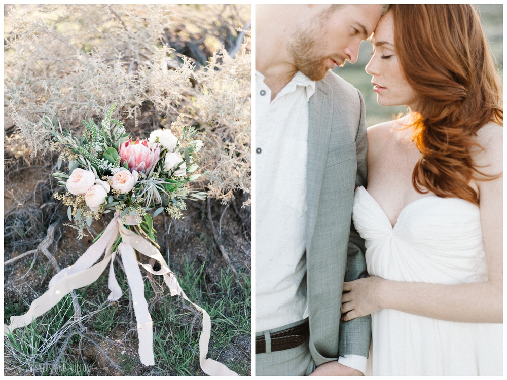 Pastel desert wedding | Protea blush bouquet by Bloom Babes |  Whiskers and Willow Photography