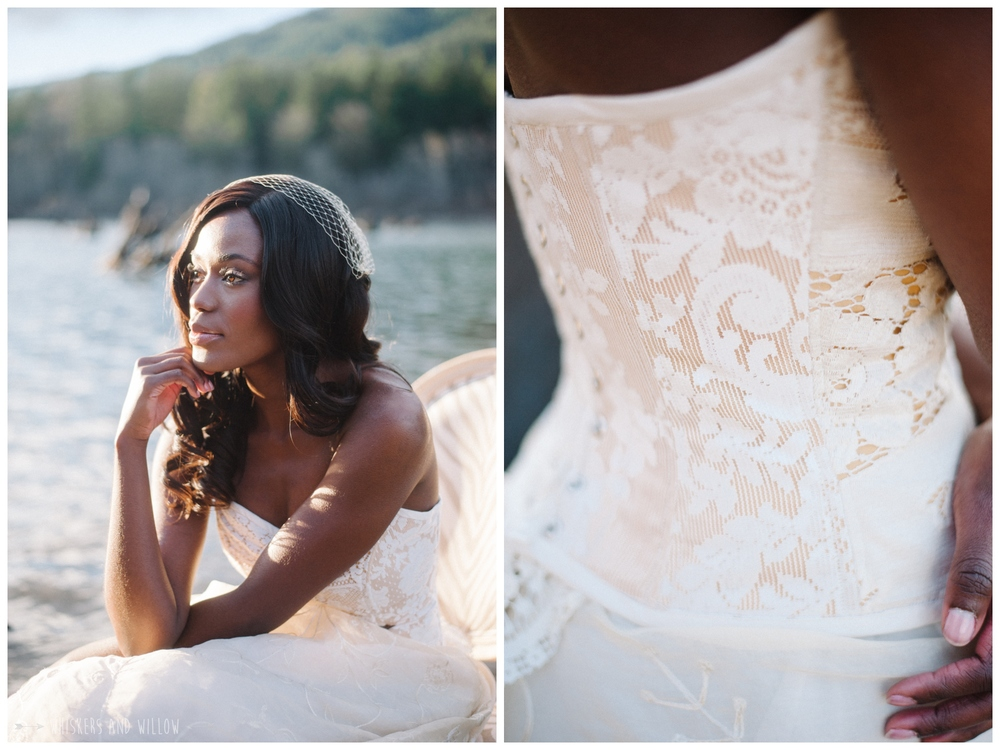 Romantic Eco Chic Bridal Gown by Kimmi Designs | Lakeside Romance | Whiskers and Willow Photography