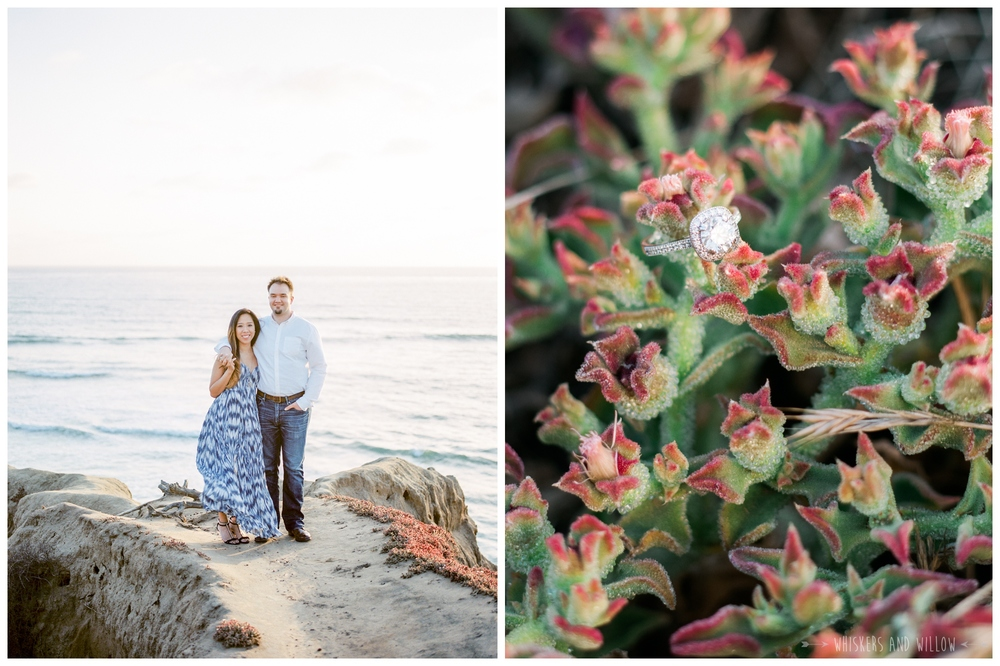 Sunset Cliffs Natural Park Engagement - Engagement Oufit - Engagement Ring - Whiskers and Willow Photography