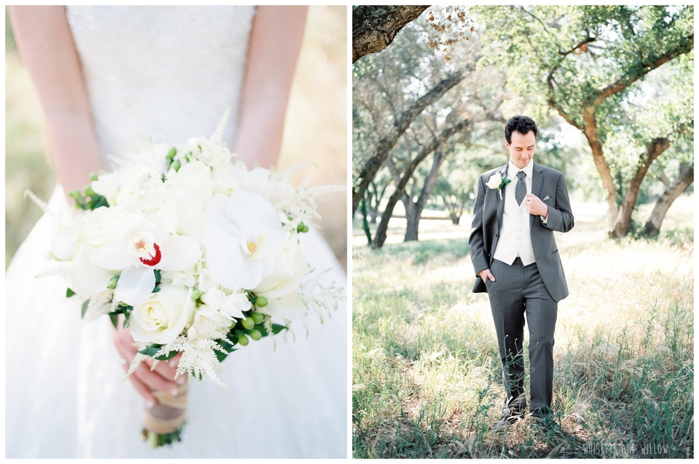 Mt Woodson Castle Wedding - Bride and Groom Portraits  - White Bouquet - Groom Inspiration - San Diego Wedding Photographer - Whiskers and Willow Photography