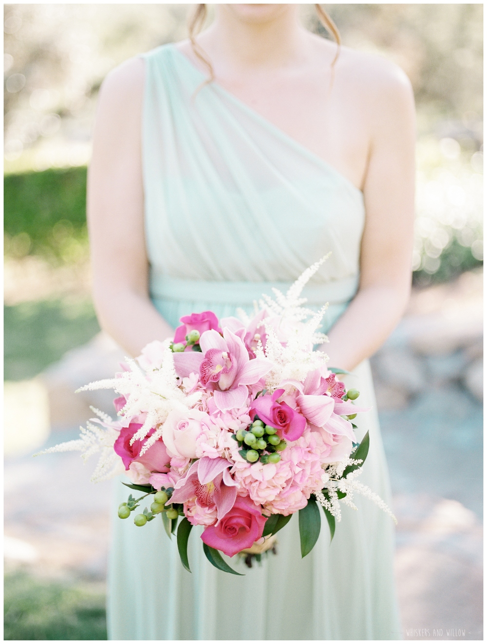 Mt Woodson Castle Wedding - Mint and Pink Bridesmaids - Pink Bouquet - San Diego Wedding Photographer - Whiskers and Willow Photography