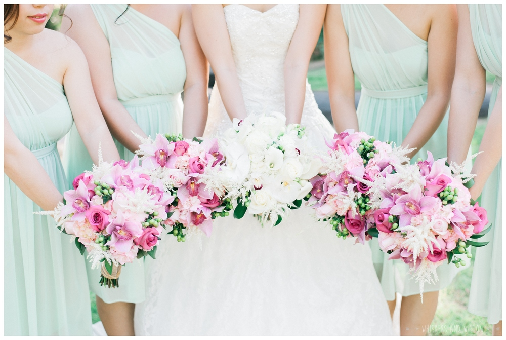 Mt Woodson Castle Wedding - Mint and Pink Bridesmaids - San Diego Wedding Photographer - Whiskers and Willow Photography
