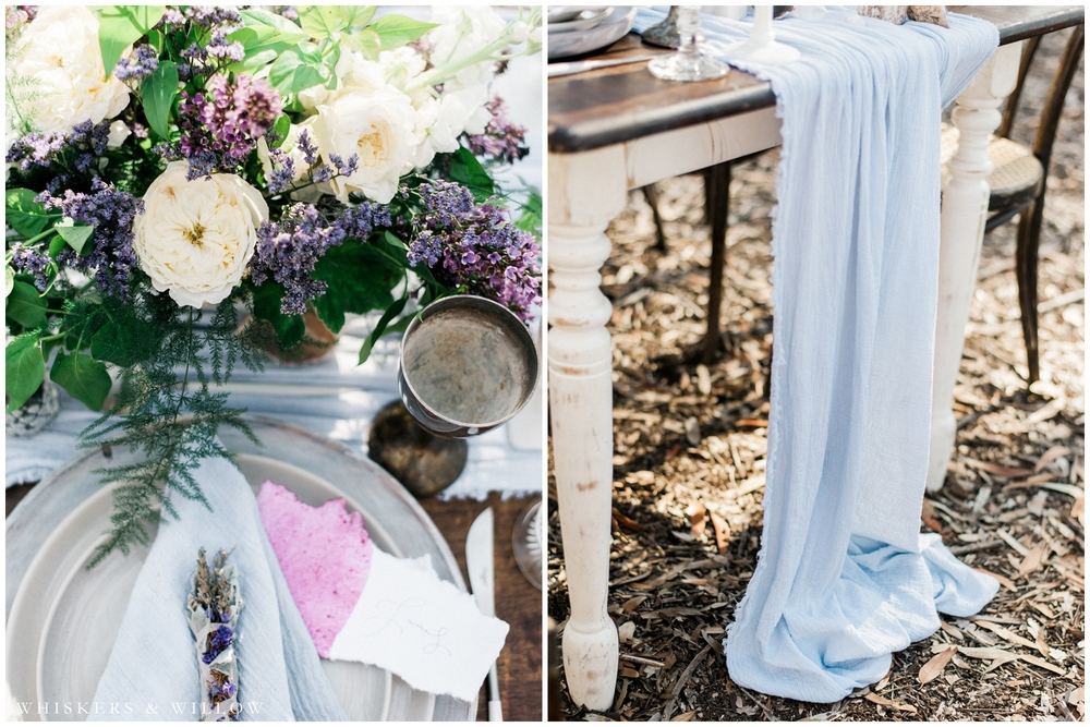 Bohemian Reception Tabletop - Purple lilac - blue hand dyed table runner - San Diego Wedding Photographer - Whiskers and Willow Photography