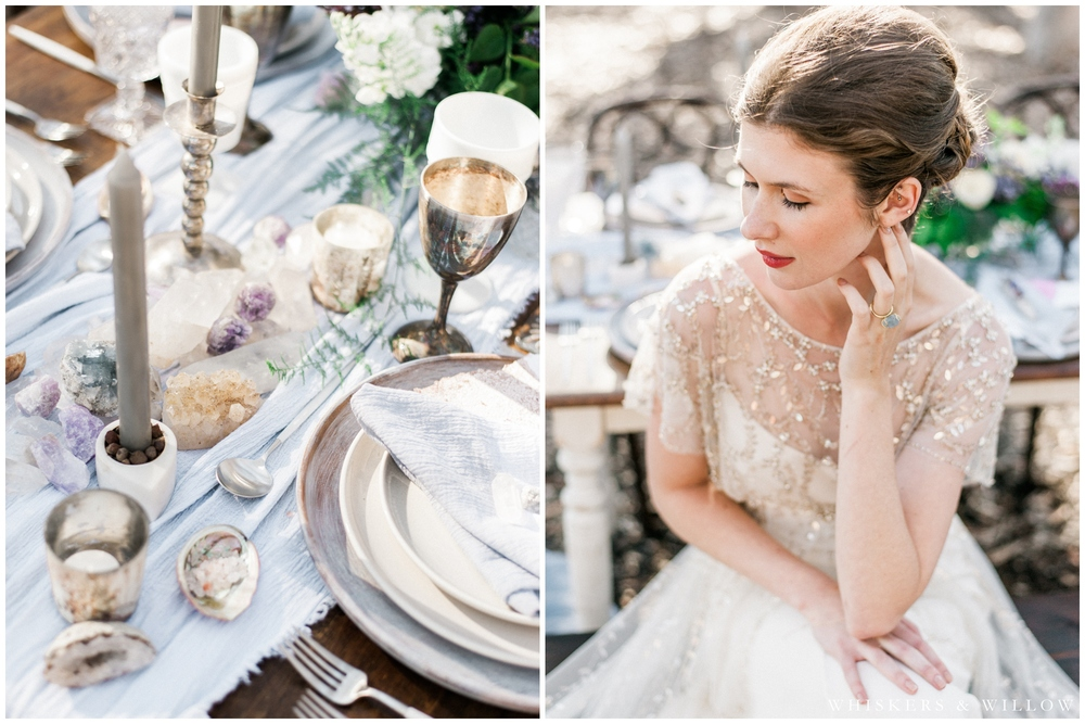Bridal Portrait - Jenny Packham gown - Bohemian reception tabletop - San Diego Wedding Photographer - Whiskers and Willow Photography