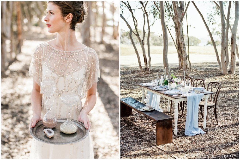 Bridal Portrait - Jenny Packham gown - Bohemian reception tabletop by Sweet Emilia Jane - San Diego Wedding Photographer - Whiskers and Willow Photography