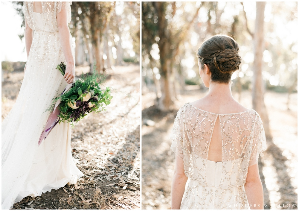 Lilac bouquet by Little Fox Flower Shop - Jenny Packham gown - Hair by Beauty by Stacey - San Diego Wedding Photographer - Whiskers and Willow Photography