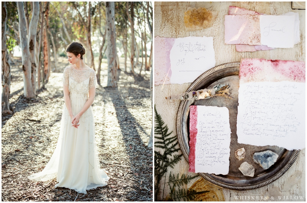 Bridal Portrait - Jenny Packham gown - Bohemian invitations - Calligraphy by Type and Title - San Diego Wedding Photographer - Whiskers and Willow Photography