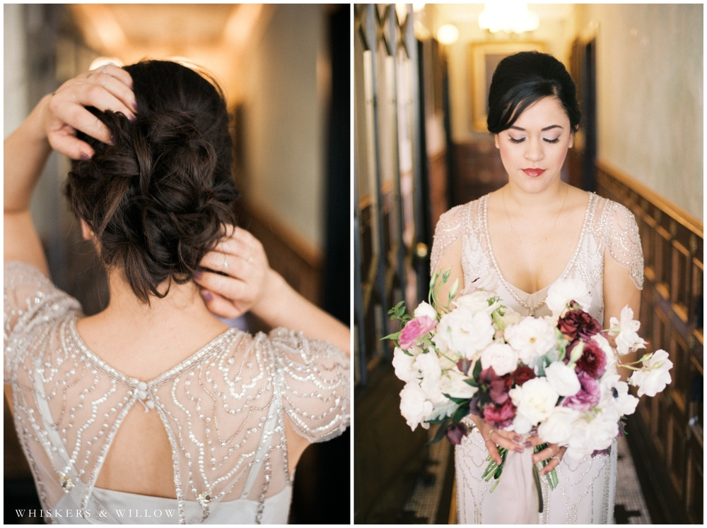 1920s Art Deco Wedding - Jenny Packham dress - Bridal Bouquet by Bloom Babes - Polite Provisions- San Diego - Whiskers and Willow Photography