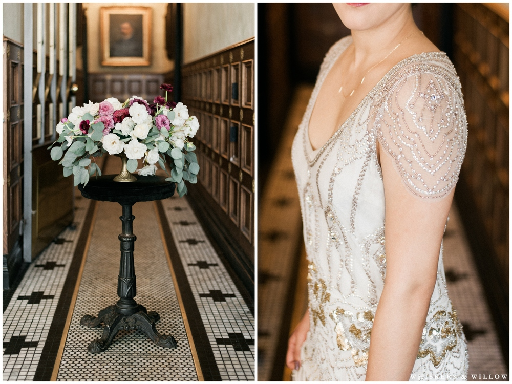 1920s Art Deco Wedding - Floral centerpiece by Bloom Babes - Jenny Packham dress - Polite Provisions- San Diego - Whiskers and Willow Photography