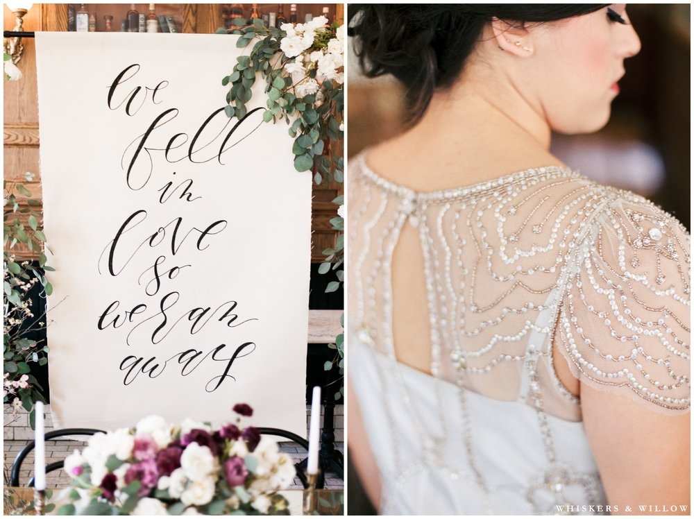"1920s Art Deco Wedding - Jenny Packham dress - Calligraphy sign by Type and Title - ""we fell in love so we ran away"" - Polite Provisions- San Diego - Whiskers and Willow Photography"