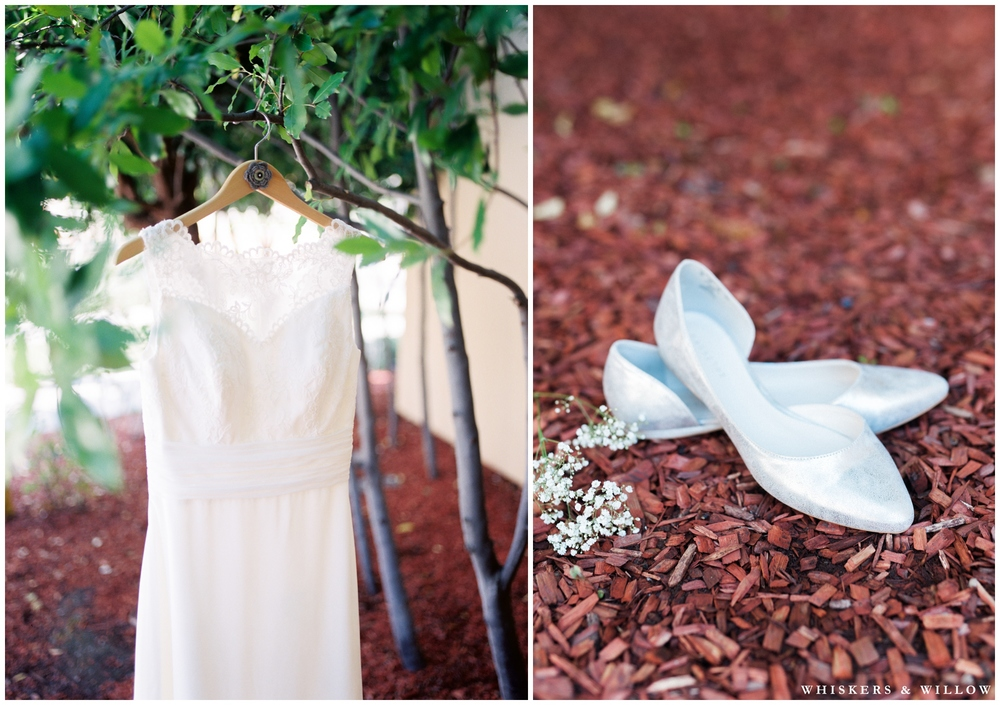 Classic lace wedding gown - wedding ballet flats - San Diego Wedding Photographer - Whiskers and Willow Photography
