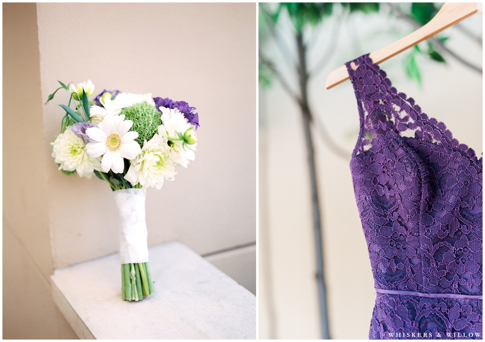 Purple lace bridesmaids dress - Daisy bouquet - San Diego Wedding Photographer - Whiskers and Willow Photography