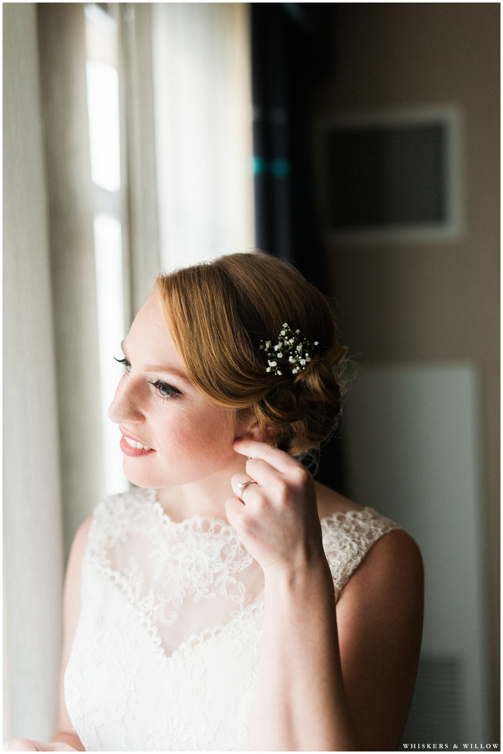Lace Wedding Dress - Bridal getting ready photos - San Diego Wedding Photographer - Whiskers and Willow Photography