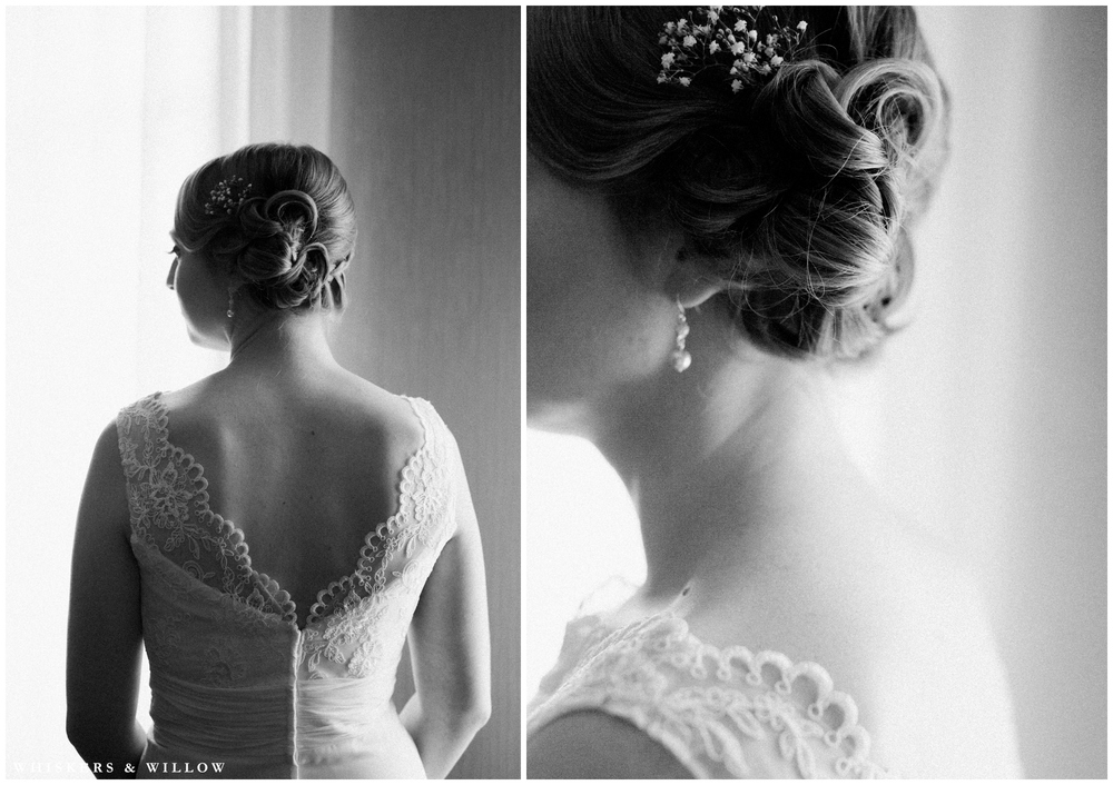 Bridal getting ready photos - classic lace gown - classic updo - San Diego Wedding Photographer - Whiskers and Willow Photography