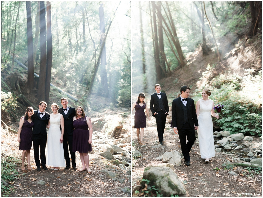 Saratoga Springs Wedding - Forest woodland wedding - classic bride and groom - tuxedo - purple lace bridesmaids dress - Whiskers and Willow Photography